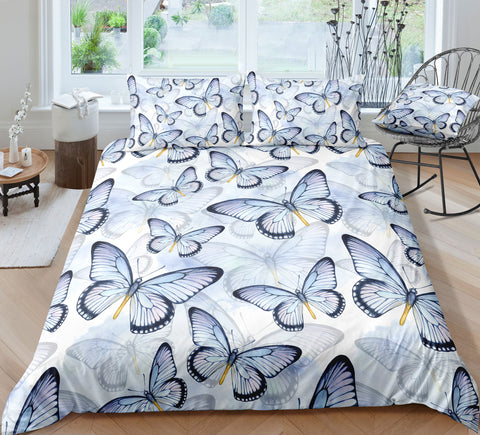 Image of Light Blue Butterflies Bedding Set - Beddingify