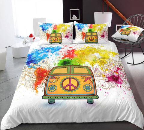 Map and Peace and Love Bus Bedding Set - Beddingify