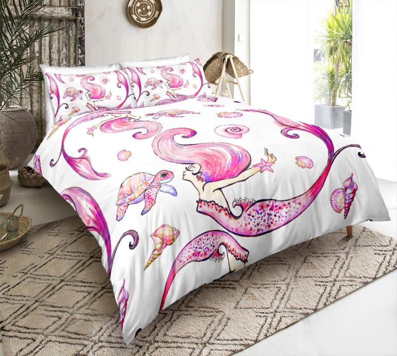 Pink Turtle and Mermaid Bedding Set - Beddingify