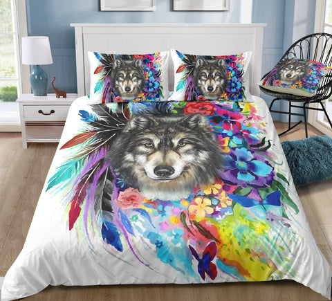 Image of Mutilcolor Tribal Wolf Bedding Set - Beddingify