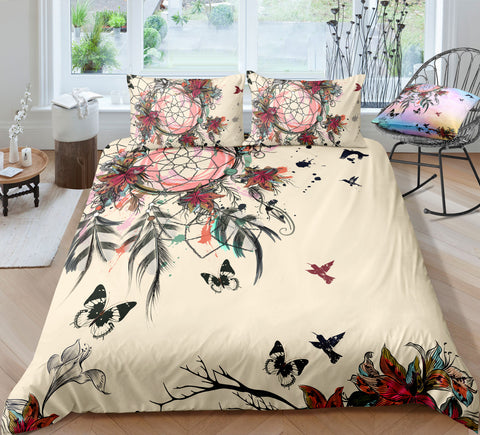 Image of Peace Butterflies Dreamcatcher Bedding Set - Beddingify