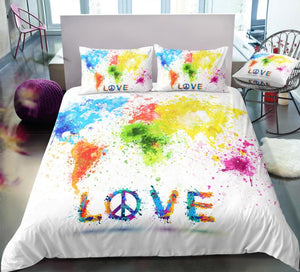 Peace and Love Map Symbol Bedding Set - Beddingify