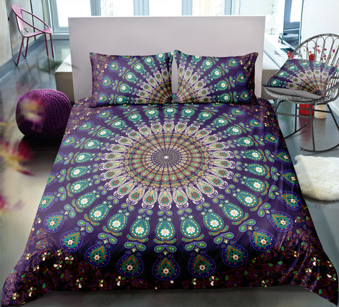 Image of Purple Flower Mandala Pattern Bedding Set - Beddingify