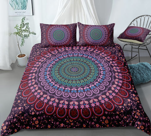 Image of Purple Flowers Mandala Pattern Bedding Set - Beddingify