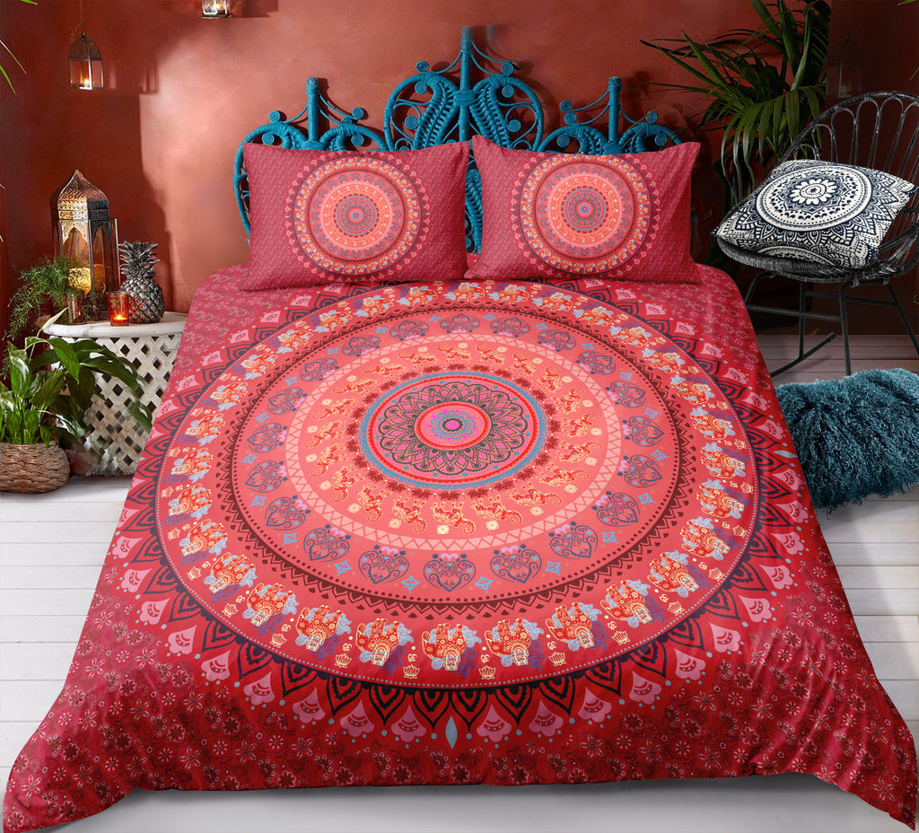Red Mandala Pattern Bedding Set - Beddingify