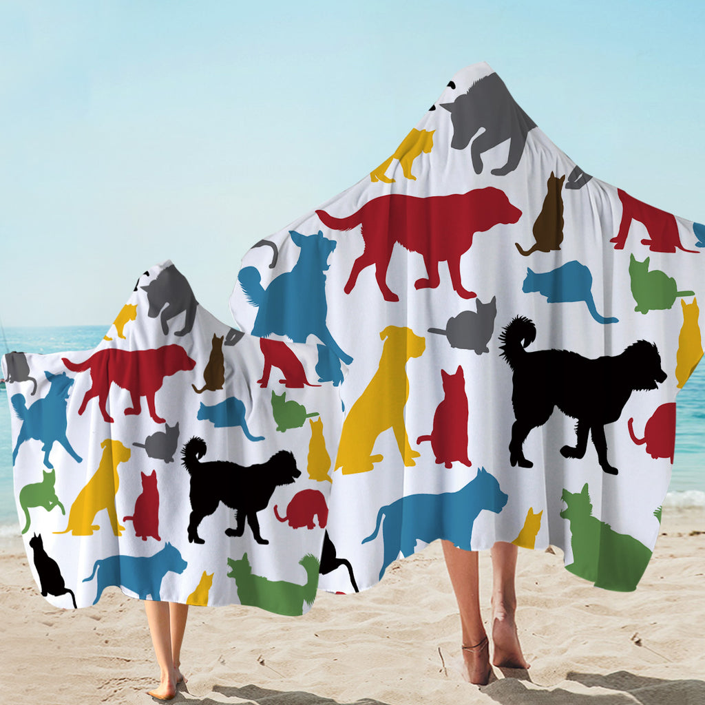 Animal Colored Shadows Hooded Towel