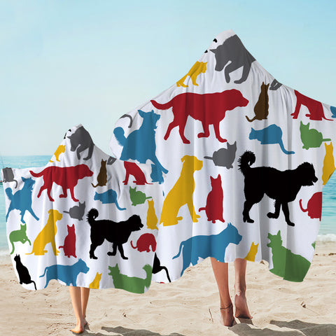 Image of Animal Colored Shadows Hooded Towel