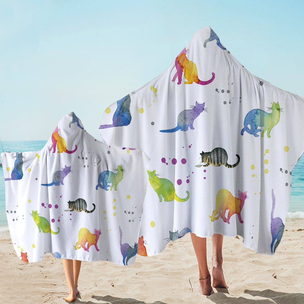 Colorful Kitty Patterns Hooded Towel