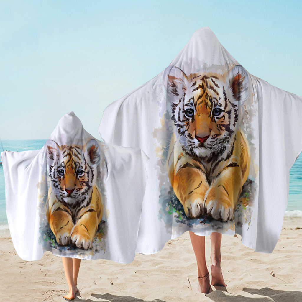 Cute Tiger Cub Hooded Towel