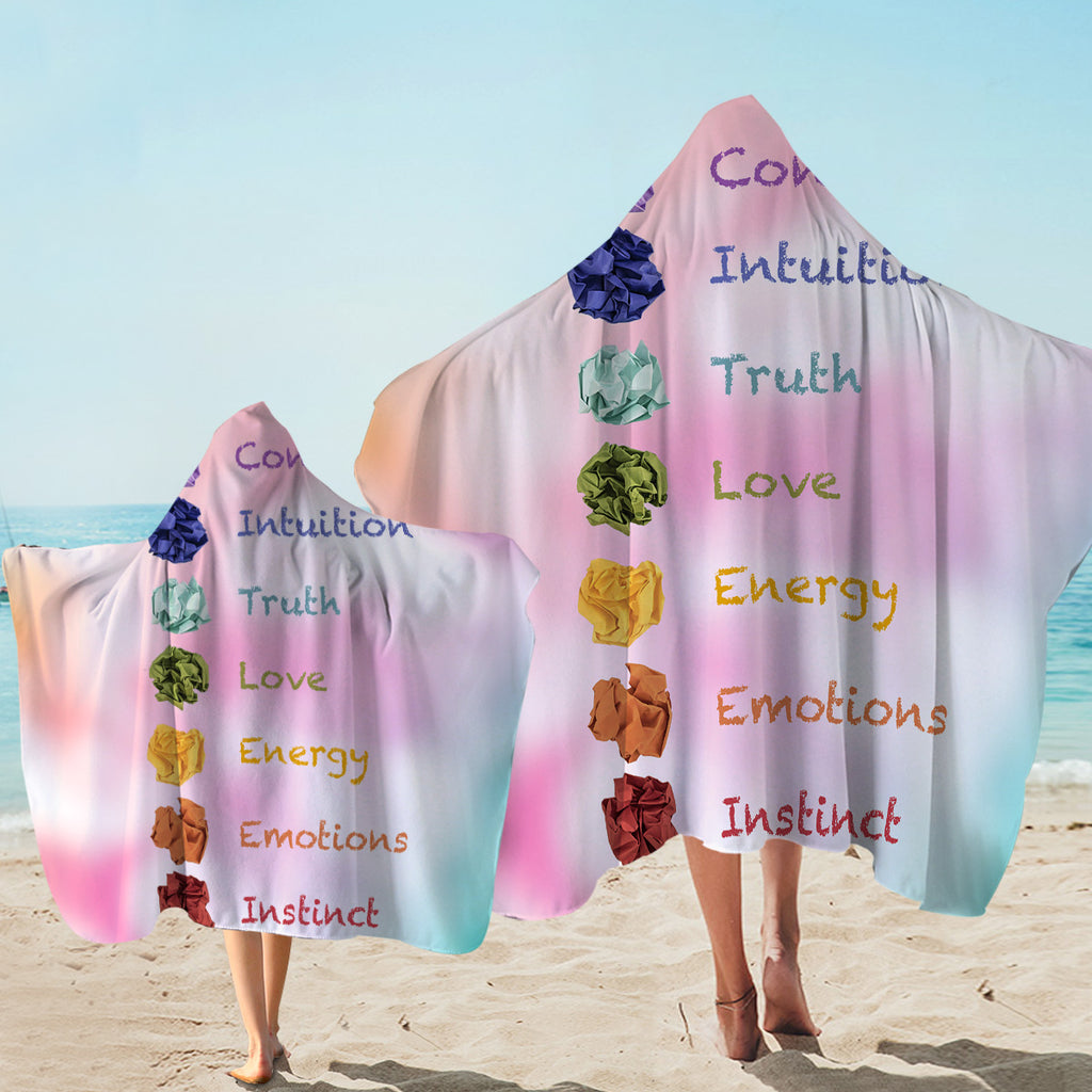 7 Chakras Pink Hooded Towel
