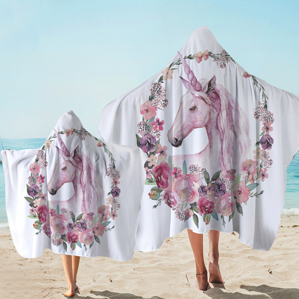 Rosy Unicorn Hooded Towel