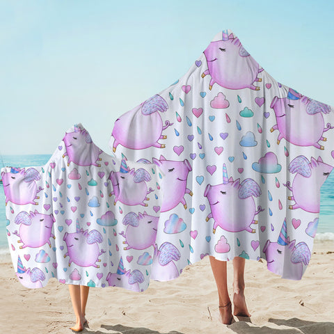 Image of Flying Piggy Raindrop Patterns Hooded Towel