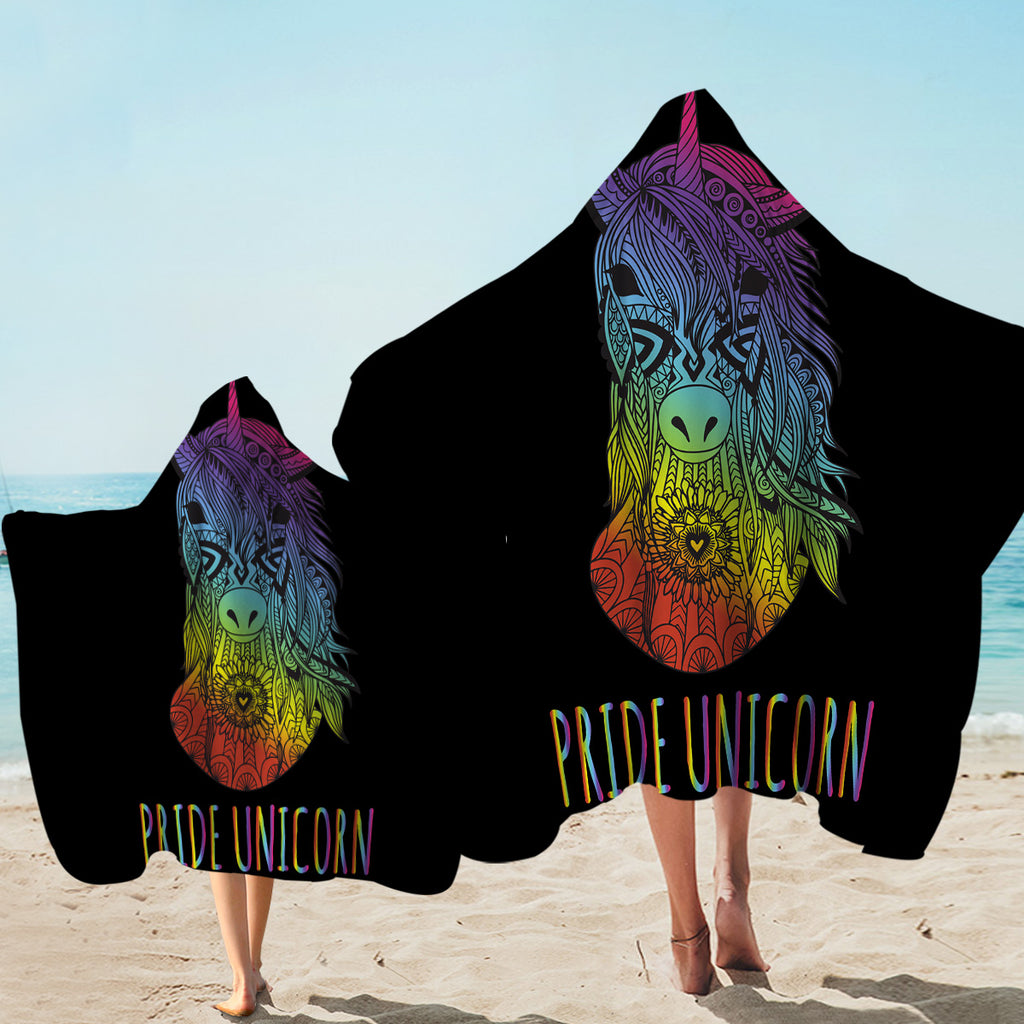Pride Unicorn Black Hooded Towel