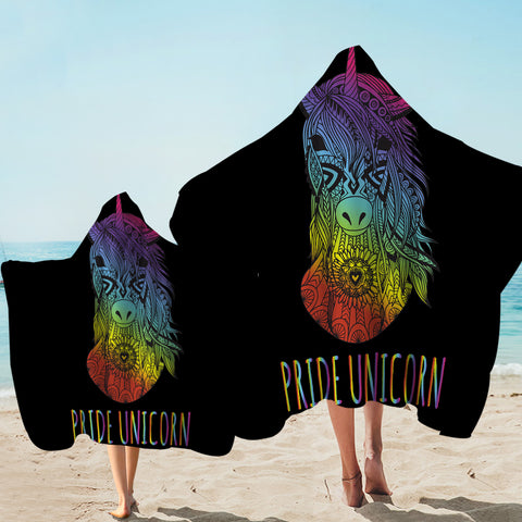 Image of Pride Unicorn Black Hooded Towel