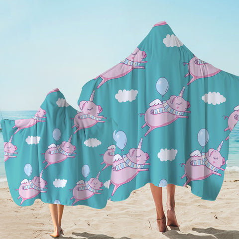 Image of Levitate Pig Teal Hooded Towel