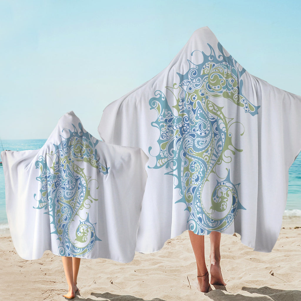 Stylized Seahorse Hooded Towel