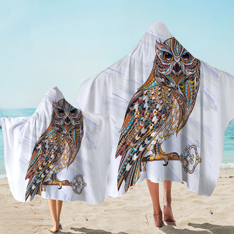 Image of Designed Patterns Owl White Hooded Towel