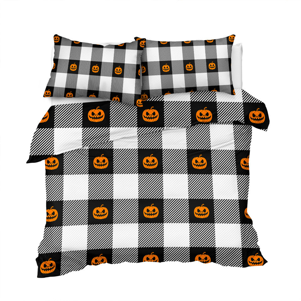 Pumpkin Icons On Plaid Bedding Set - Beddingify