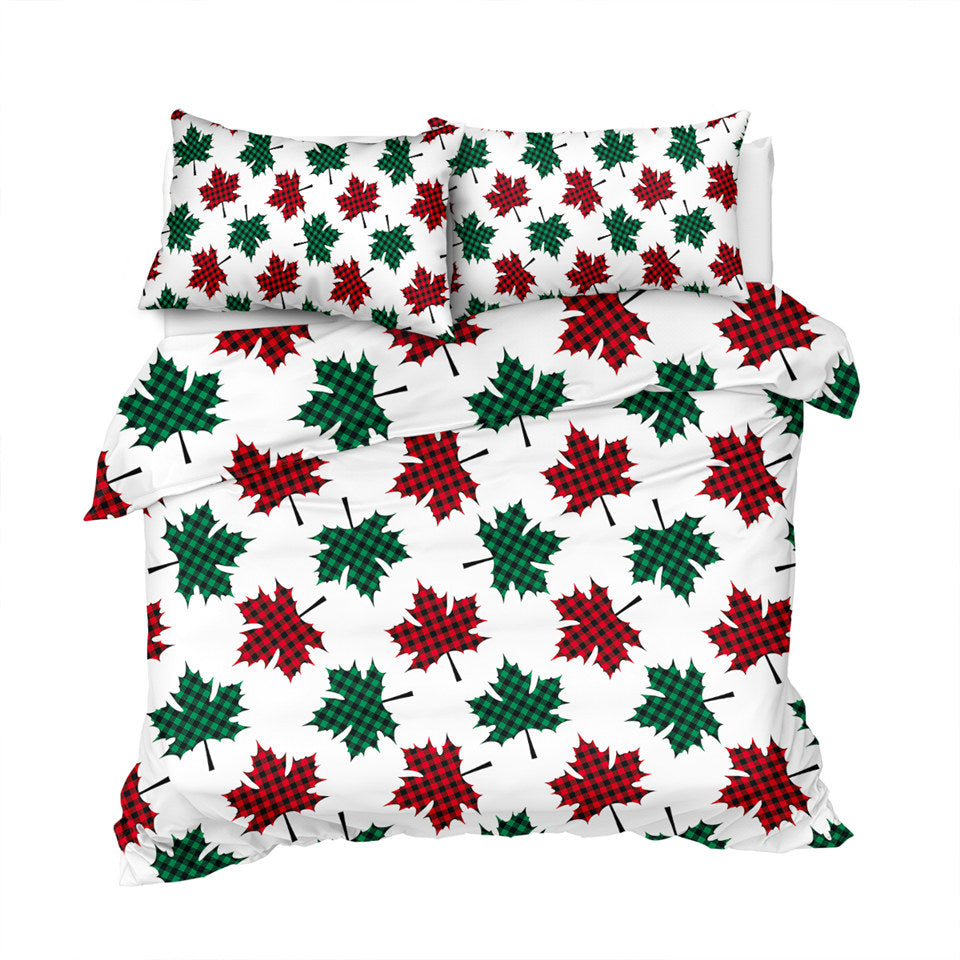 Red & Green Maple Leaf Patterns Bedding Set - Beddingify