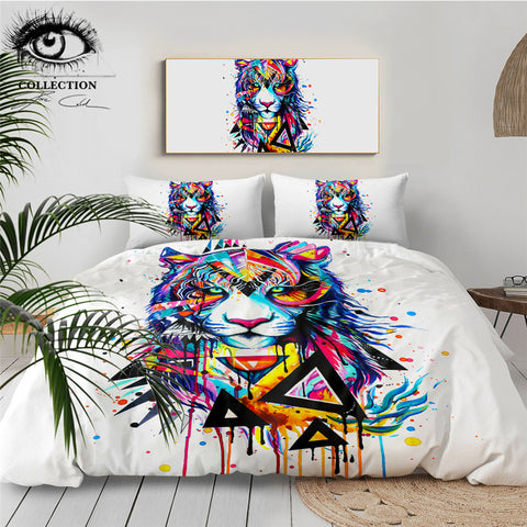Image of Shattered Tiger by Pixie Cold Art Bedding Set - Beddingify