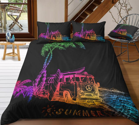 Summer Beach Peace and Love Bus Bedding Set - Beddingify
