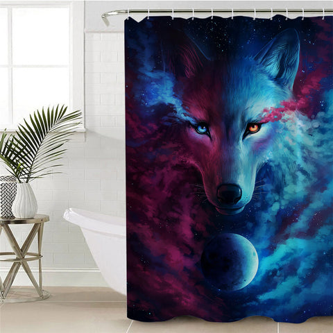 Image of Cosmic Wolf Contrast Shower Curtain