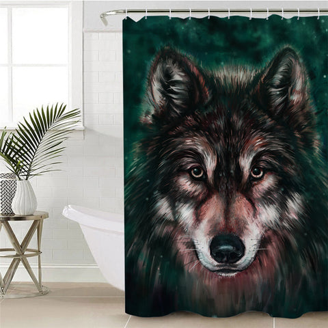 Image of 3D Wolf Forest Themed Shower Curtain