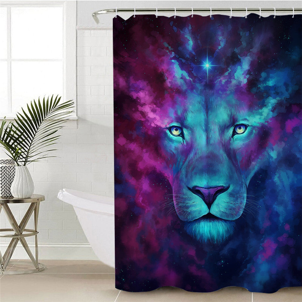 Cosmic Lion Shower Curtain