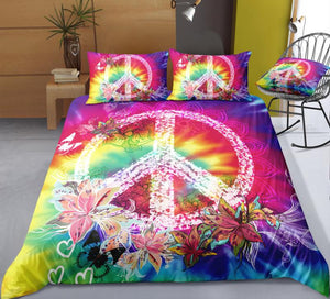 Tie-Dyed Flowers Peace and Love Symbol Bedding Set - Beddingify