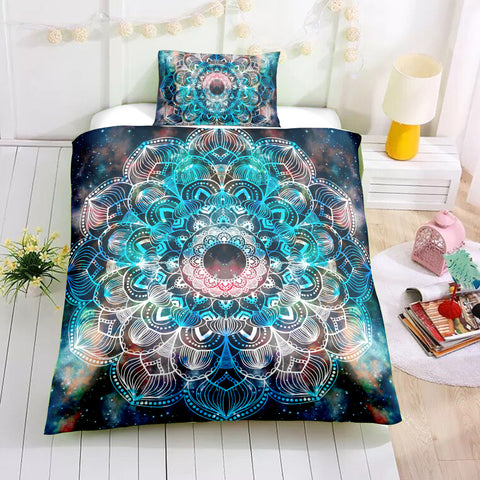 Tie-dye Floral Mandala Pattern Bedding Set - Beddingify