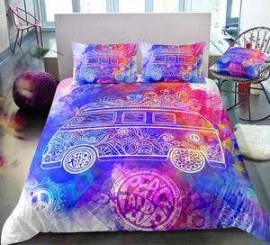 Tie-dyed Peace and Love Bus Bedding Set - Beddingify