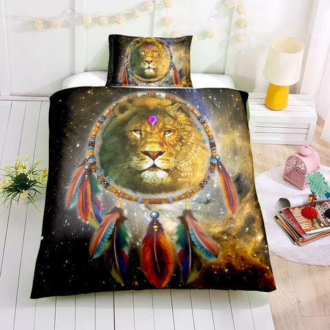 Tribal Dreamcatcher Lion Bedding Set - Beddingify