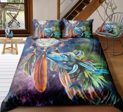 Tribal Dreamcatcher Wolf Bedding Set - Beddingify