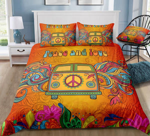 Vintage Peace and Love Bus Bedding Set - Beddingify