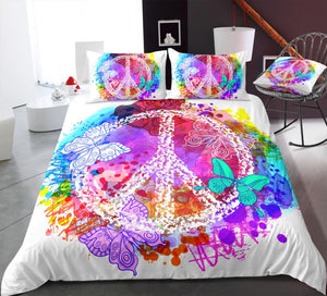 White Butterflies Peace and Love Symbol Bedding Set - Beddingify
