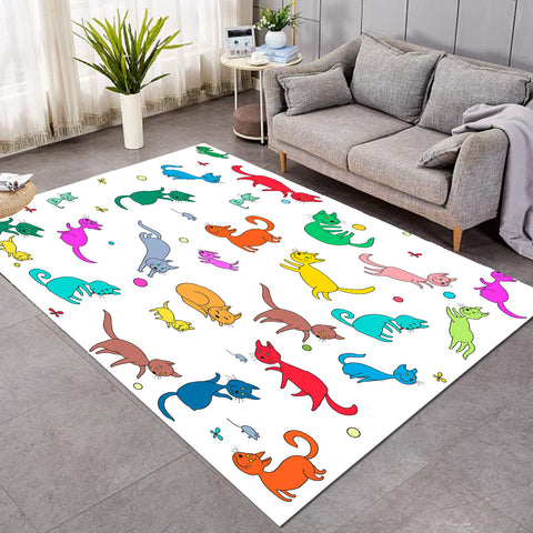 Cheery Colorful Cats SW1740 Rug