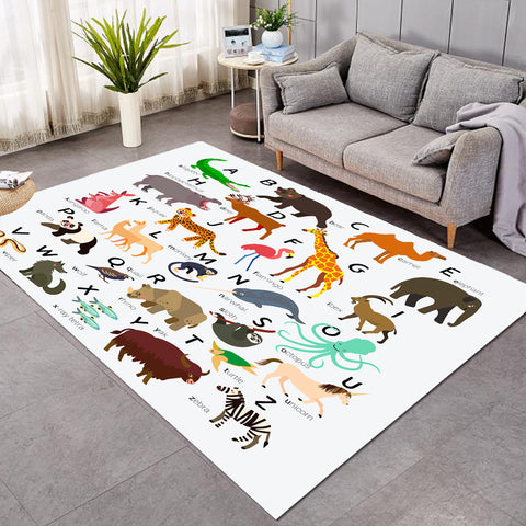 Animal Alphabet White SW1713 Rug
