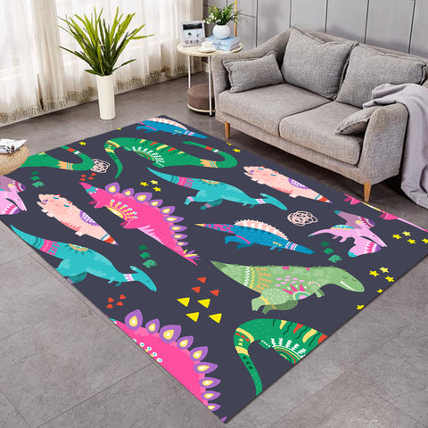 Cartooned Dino Kid SW1743 Rug