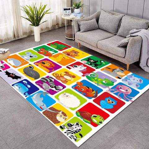 Cartooned Animals Colorblocks SW1707 Rug