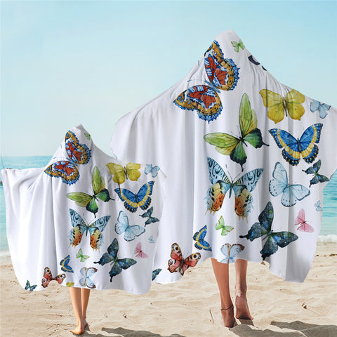 3D Butterfly GSTR016002016 Hooded Towel