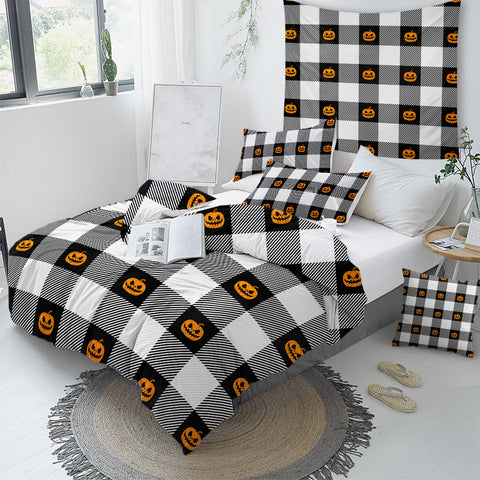 Image of Pumpkin Icons On Plaid Bedding Set - Beddingify