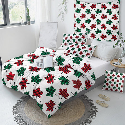 Image of Red & Green Maple Leaf Patterns Bedding Set - Beddingify