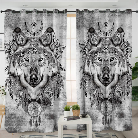 Tribal Wolf 2 Panel Curtains