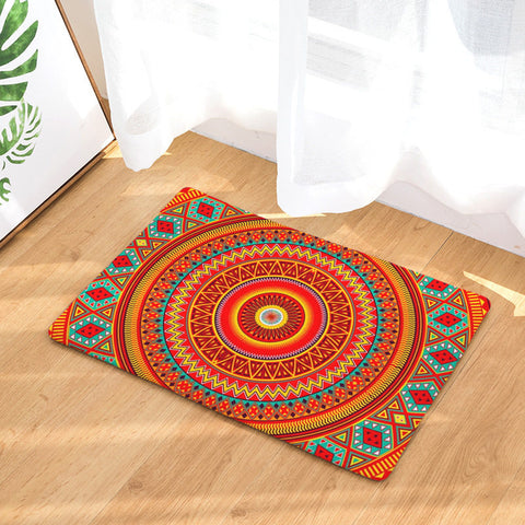 Thermal Mandala Orange Door Mat