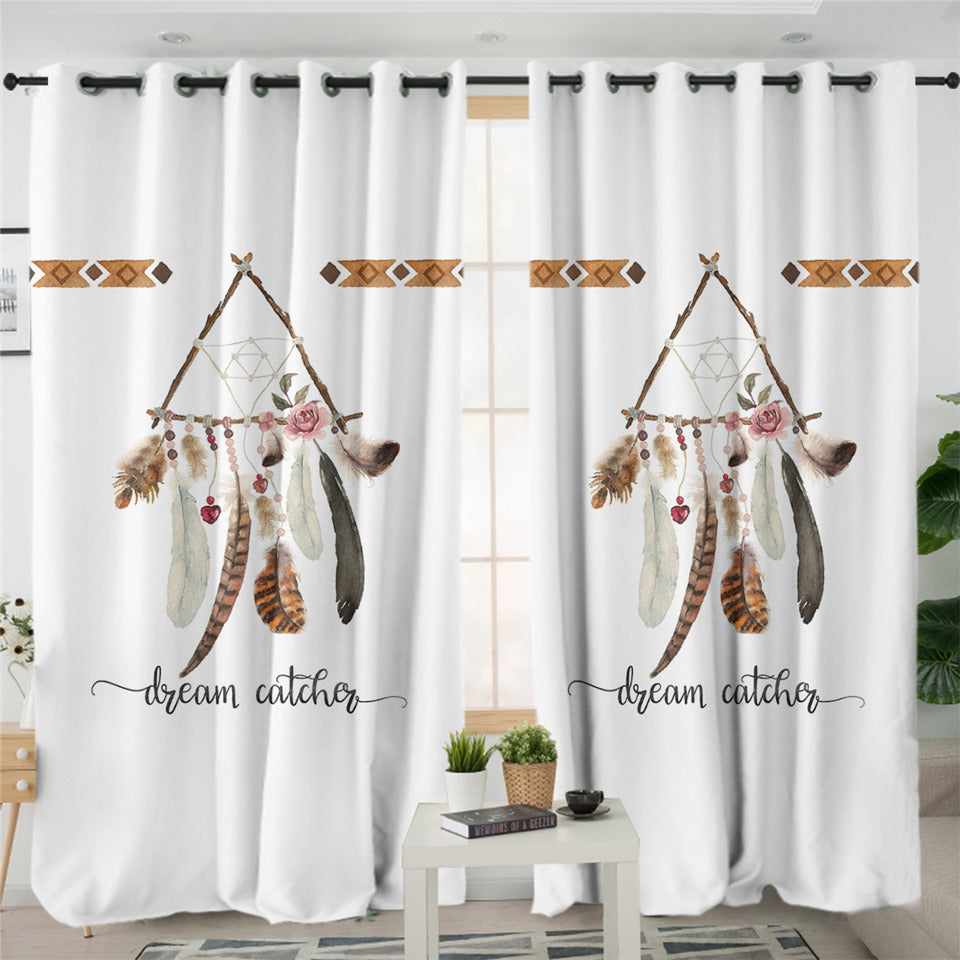 Triangle Dream Catcher White 2 Panel Curtains