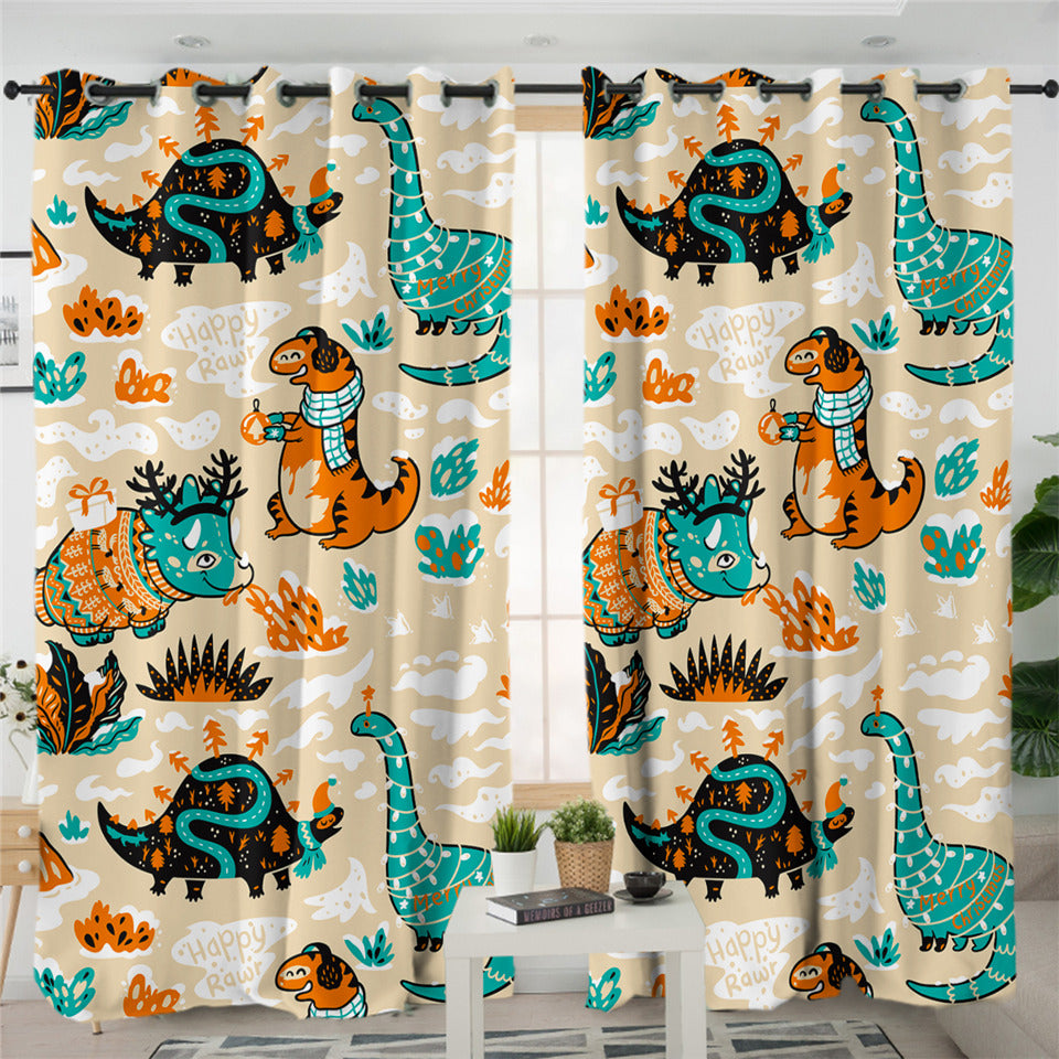Dinosaurs Christmas Themed 2 Panel Curtains