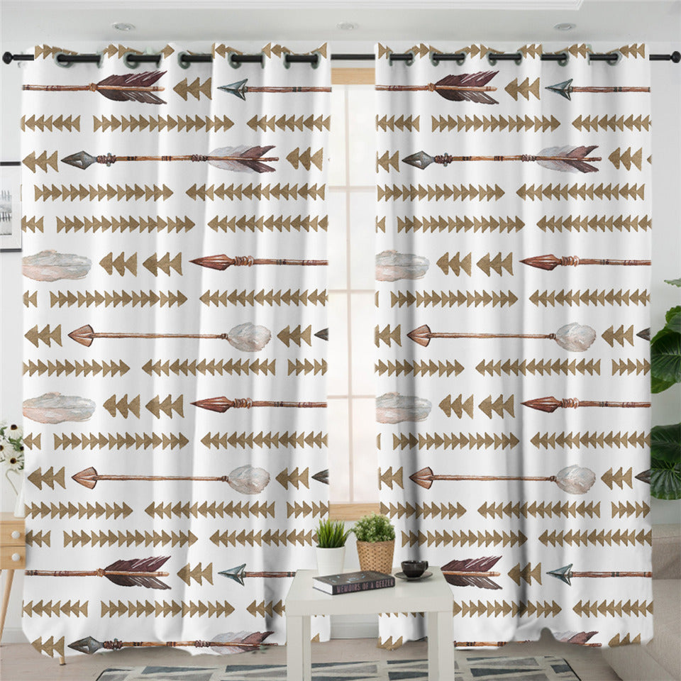 Arrow Motif Triangle Patterns 2 Panel Curtains
