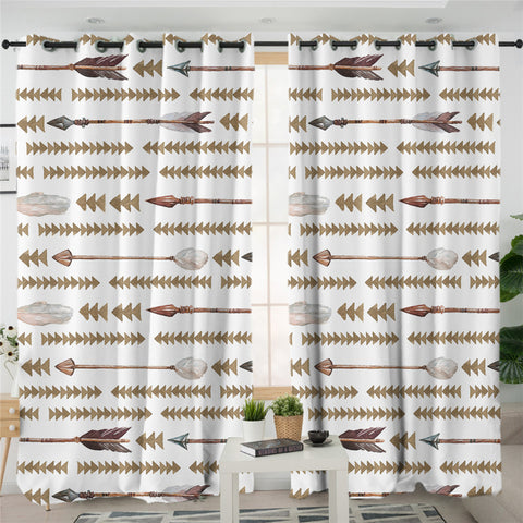 Image of Arrow Motif Triangle Patterns 2 Panel Curtains