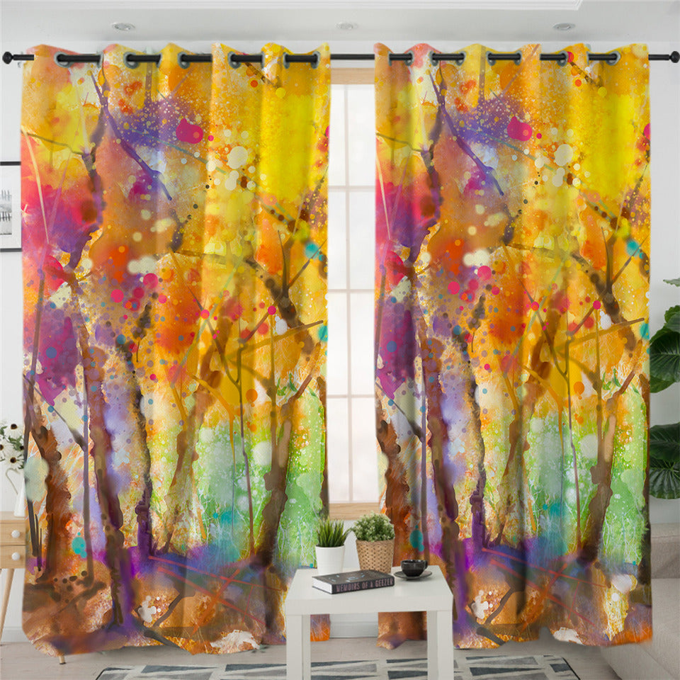 Color Spray Autumn Forest 2 Panel Curtains