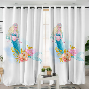 Mermaid White 2 Panel Curtains